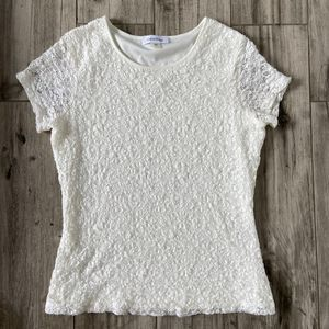 Calvin Klein White Lace Short Sleeve Blouse SZ PM